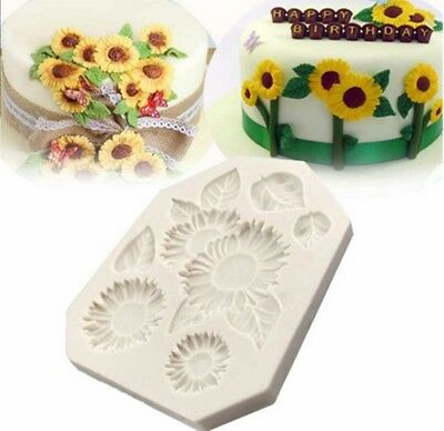 Sunflower Cake Decorations (DIY Silicone Mold Sunflower Cake Mould 3D Fondant Jelly Fashion Decorating)