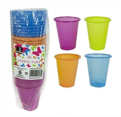 Pack of 36 Plastic Party Cups Purple Orange Blue Green Colours Great Value!