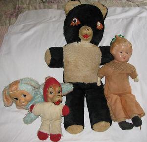 Antique Teddy Bear Lamb Red Riding Hood Wolf & Kewpie Doll