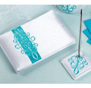 Turquoise Scroll Guest Book with Pen Set