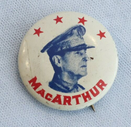 Original WWII Commemorative US General Douglas MacArthur Pinback Button