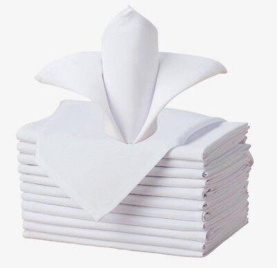 50 cotton restaurant dinner cloth linen napkins white 20''x20'' wedding grade!! (White Napkins)