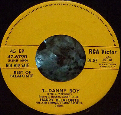 """*<* RARE HARRY BELAFONTE 1957 PROMO-ONLY EP! """"DANNY BOY"""" CLEAN M- RCA 45/SLEEVE!"""