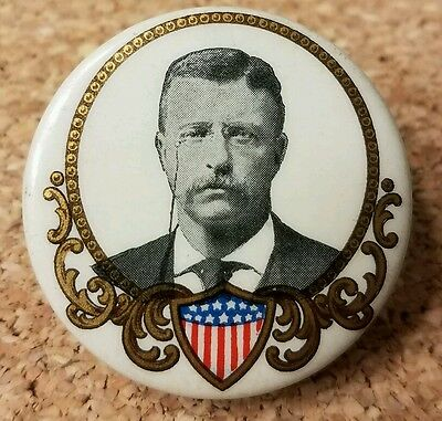 "Theodore Roosevelt campaign pinback button 1.25"" - 1904"