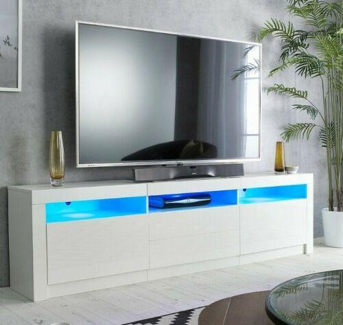 "78"" TV Cabinet Stand Matt Body High Gloss Doors for 90 inch TV LED lights 22""(h)"