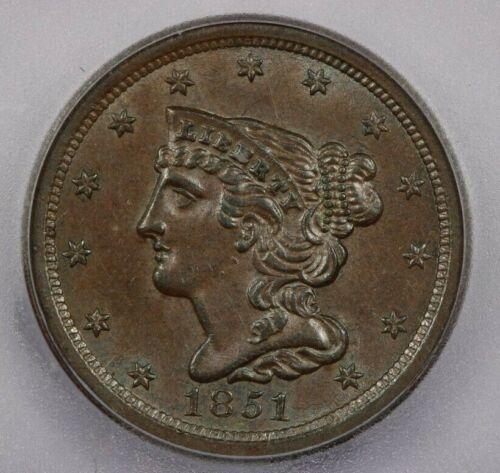 1851 H1c 1/2c half cent ICG MS62 BN