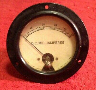 Vintage Hoyt Meter Direct Current Milliamperes Gauge 0-50 Glass Face Steam Punk