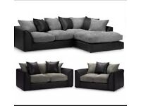 Brand new Byron corner or 3+2 seater sofa sets in black&grey🔥🔥🔥