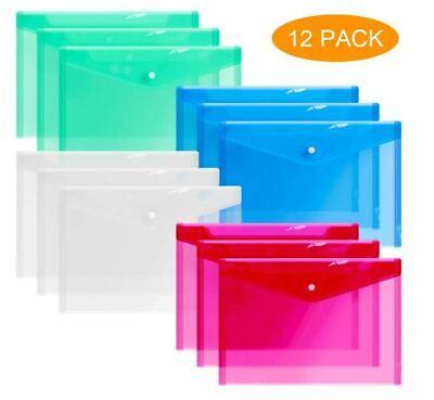 12 Plastic Envelopes Clear Document Folders Poly Envelope Transparent 4 Color A4