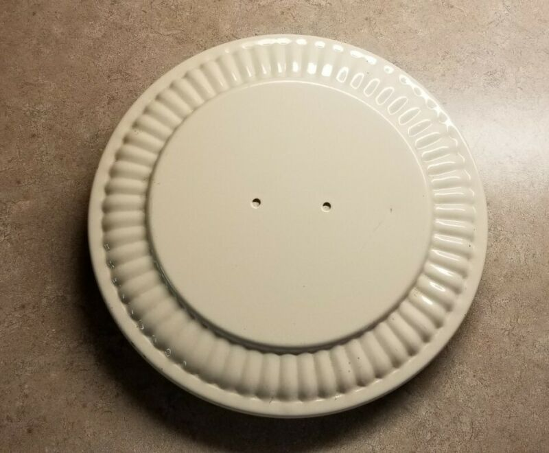 """Vintage 9.5"""" Metal Flue Round Beige Cover Plate - Stove Pipe Hole Cover"""