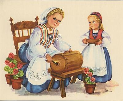 VINTAGE SWEDISH WOMAN GIRL SMORKAGER BUTTER COOKIES SPRINGERLE RECIPE PRINT CARD