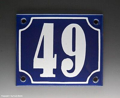 EMAILLE, EMAIL-HAUSNUMMER 49 in BLAU/WEISS um 1950