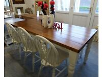 NEW 6' Foot Shabby Chic Farmhouse Oak Finish Pine Table, Bench, 3 Chairs Delivery