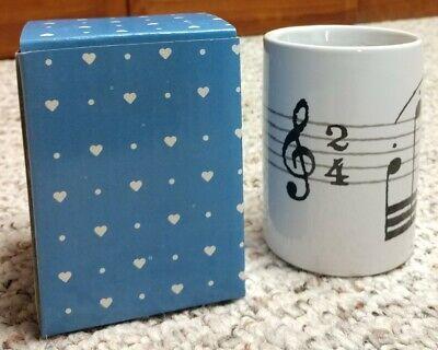 Vintage Ceramic Musical Notes Pencil Cup Organizer Black Printwhite