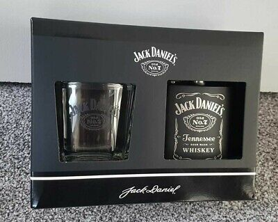 Jack Daniels Gift Set - Tumbler and Hip flask - Whiskey Glass No.7 Old Brand New