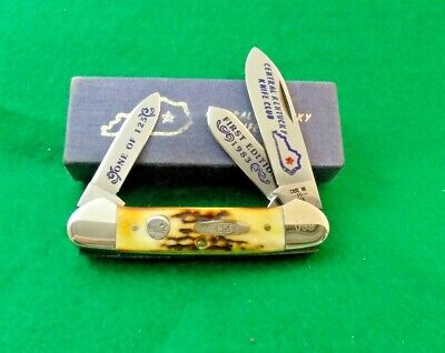 CASE XX USA 1983 CENTRAL KENTUCKY KNIFE CLUB STAG 3 BLADE CANOE KNIFE;NR 1 / 125