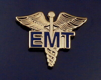 EMT Emergency Medical Technician Caduceus Medical insignia Gold Lapel Pin