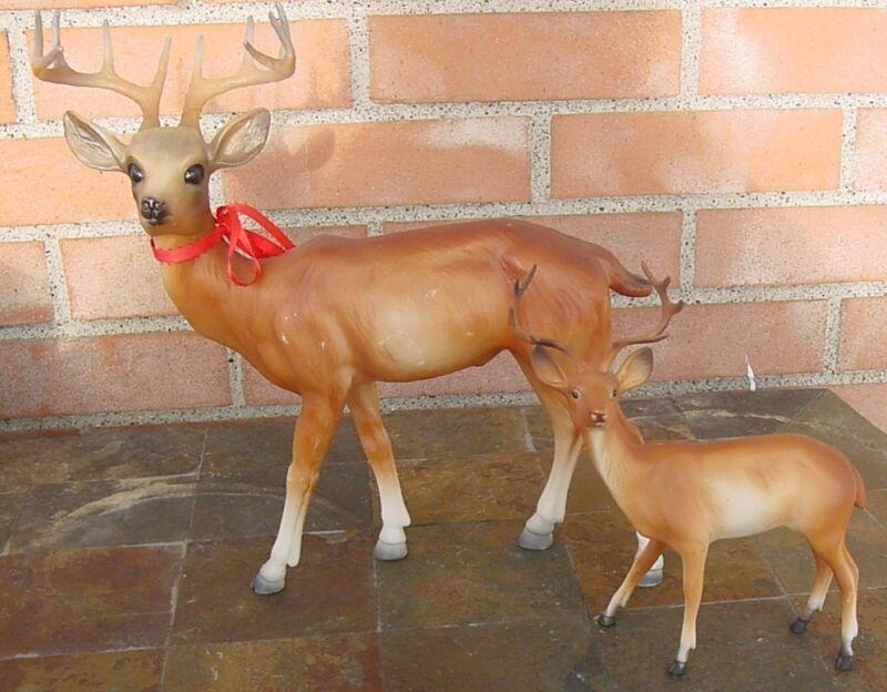 Reindeers - Vintage Plastic Large and Small Reindeers