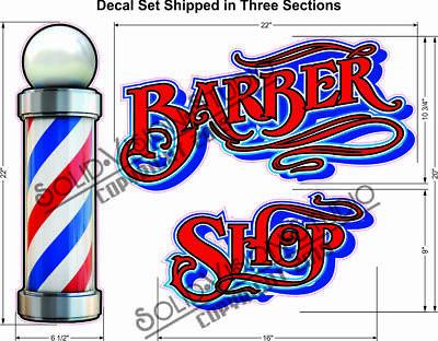 Barber Shop Pole Sign Decal Store Window Decor Weatherproof Vinyl Stickers 30