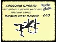 Profitness Folding Weights Bench Wit Fly arms Brand New Boxed