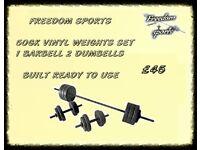 50kg Vinyl Barbell Dumbbell Set FULLY BUILT READY TO USE
