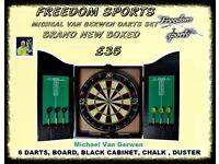 NEW Michael Van Gerwen XQ Max Tour Darts Set FULL MATCH STANDARD BOARD AND CABINET