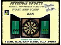 NEW Michael Van Gerwen XQ Max Tour Darts Set FULL MATCH STANDARD BOARD AND CABINET