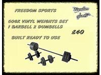 50kg Vinyl Barbell Dumbbell Set FULLY BUILT READY TO USE £40