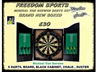 Michael Van Gerwen XQ Max Tour Darts Set FULL MATCH STANDARD BOARD AND CABINET £30