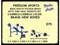 Men's Health Folding Workout Bench with 50kg Weights Set 2 Dumbells 2 Barbells 1 EZ BAR