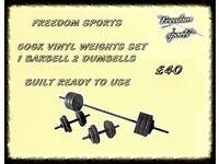 50kg Vinyl Barbell Dumbbell Set FULLY BUILT READY TO USE £40