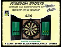 Michael Van Gerwen XQ Max Tour Darts Set FULL MATCH STANDARD BOARD AND CABINET £25