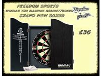 Winmau Ton Machine Dartboard and Black Cabinet Set Brand new Boxed