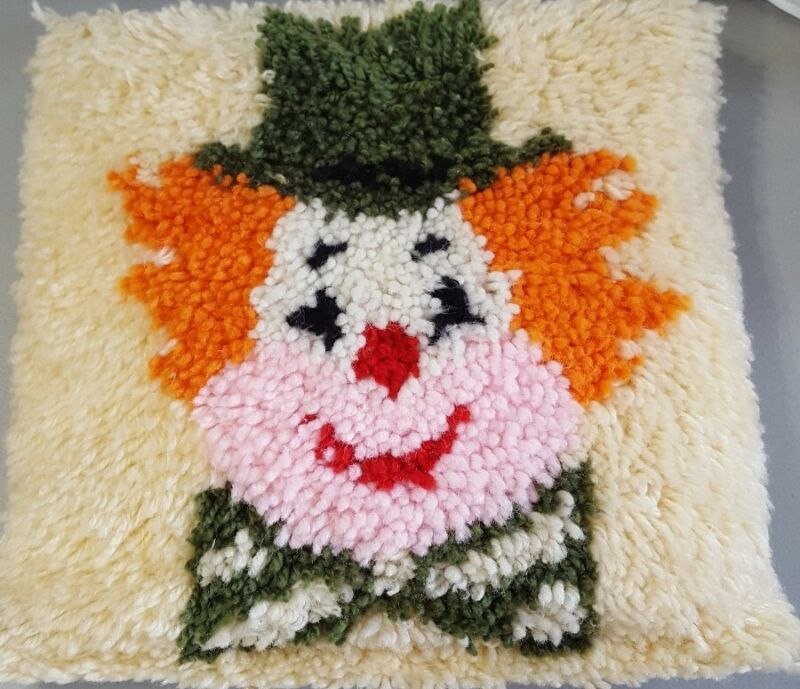 Vintage Completed Clown Latch Hook PILLOW 14X14