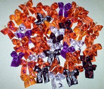 50 Halloween Dog Bows Dog Grooming Bows Hand Made USA Yorkie Poodle Shih tzu  for sale  Shipping to Canada