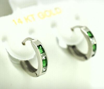 EMERALD & WHITE SAPPHIRES HUGGIE EARRINGS 14K WHITE GOLD * Made in USA Emerald Huggies Earrings
