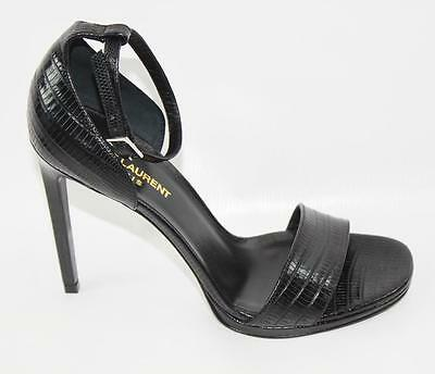 AUTH YSL Yves Saint Laurent Black Leather Sandal Shoes 39