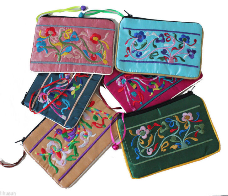 Wholesale 10pc Chinese Handmade Classic Silk Coin Purses Wallets Hand Bag
