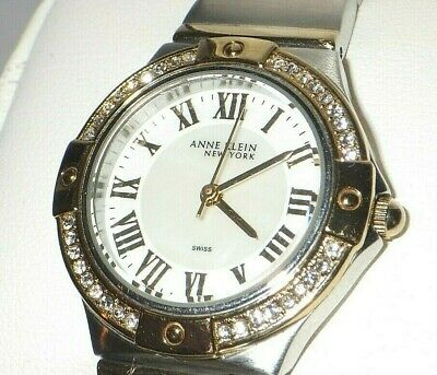 Anne Klein 12/2217 3-Interchangeable Bezel Two Tone MOP Dial SS Watch