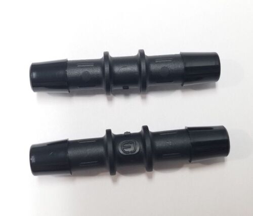 "(2) Two 3/8"" Tube Hose Straight Black Nylon Fitting Couplers"