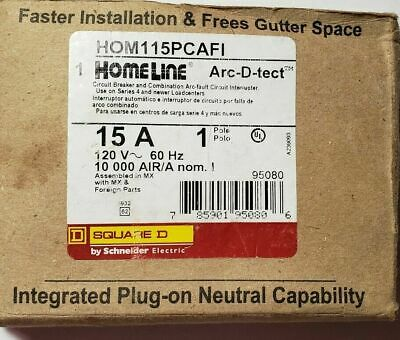 New Hom115pcafi Square D Breaker 15 Amps 120 Volts 1 Pole Arc-fault Breaker
