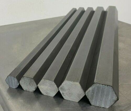 "12L14 Hexagon Steel Bar Stock (5 Bars) 1"",7/8"", 3/4"",11/16"" and 9/16"" x 12"" long"