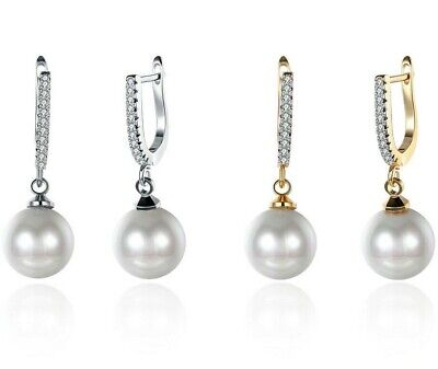 GORGEOUS AAA 12-10mm South Sea White Baroque Pearl Earring 14K GOLD FILLED ITALY Drop South Sea Earrings