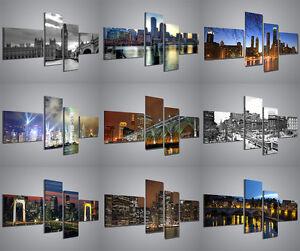 quadri moderni di citta 160x70cm composizione 4 pannelli