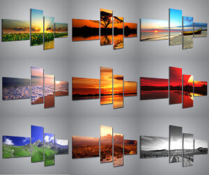 Quadri moderni paesaggi 160x70cm composizione 4 pannelli for Stampe d arredo