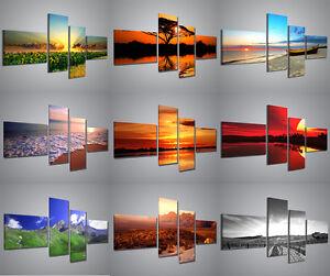Quadri moderni paesaggi 160x70 cm composizione con 4 - Stampe per bagno ...