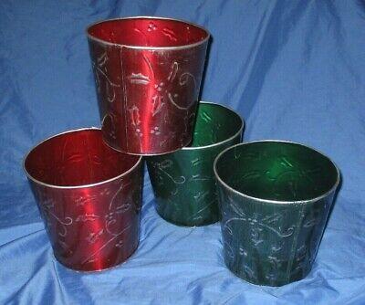 DISNEY PARKS & RESORTS Original Prop ~Lot of 4 Metal CHRISTMAS Tin - Christmas Buckets