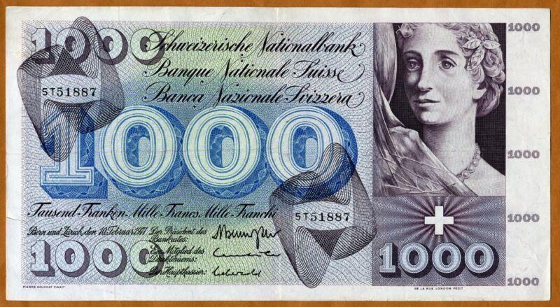 Switzerland, 1000 (1,000) Franken, 1971, P-52 (52j) VF