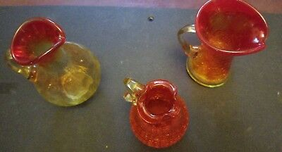 Vintage Glass Amberina Crackle Glass Miniature Pitcher
