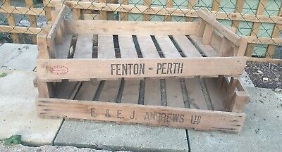 Vintage Wooden crates boxes Fruit Vegetable Trays